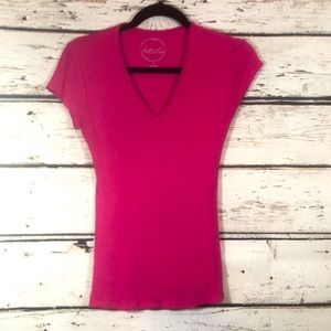INC capped sleeve ribbed pink top